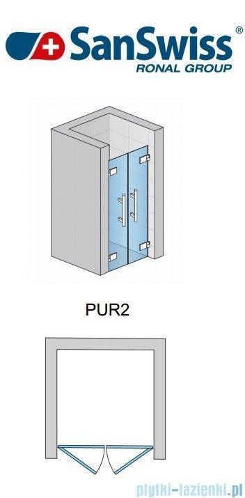 SanSwiss Pur PUR2 Drzwi 2-częściowe wymiar specjalny profil chrom szkło Cieniowanie czarne PUR2SM21055