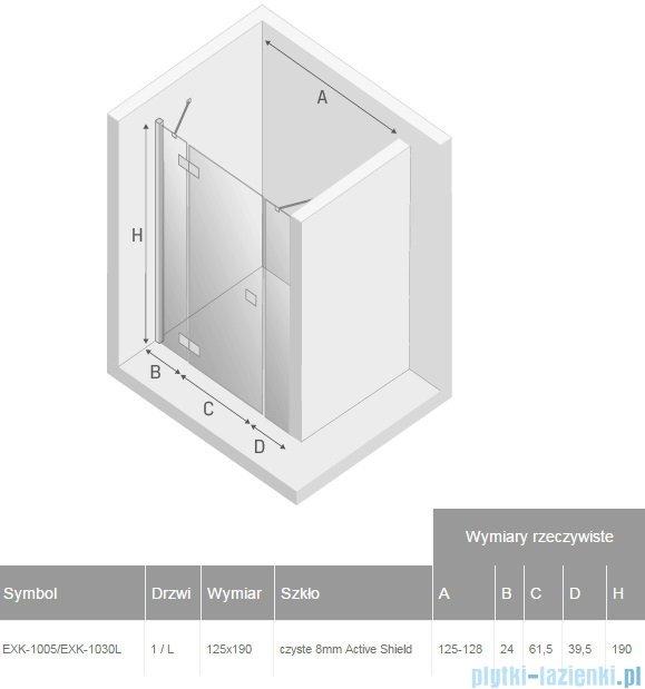 New Trendy Modena Plus drzwi prysznicowe 125cm lewe szkło przejrzyste EXK-1005/EXK-1030L