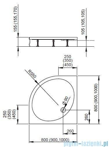 Radaway Patmos A Brodzik półokrągły 80x80 bez obudowy 4S88155-03B