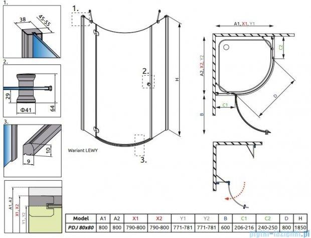 Radaway Torrenta PDJ kabina półokrągła 80x80 lewa szkło przejrzyste + Brodzik Delos A + Syfon 31710-01-01N