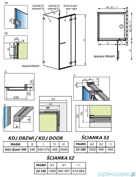 Radaway Euphoria KDJ P Kabina przyścienna 100x100x100 prawa szkło przejrzyste 383040-01R/383032-01/383036-01