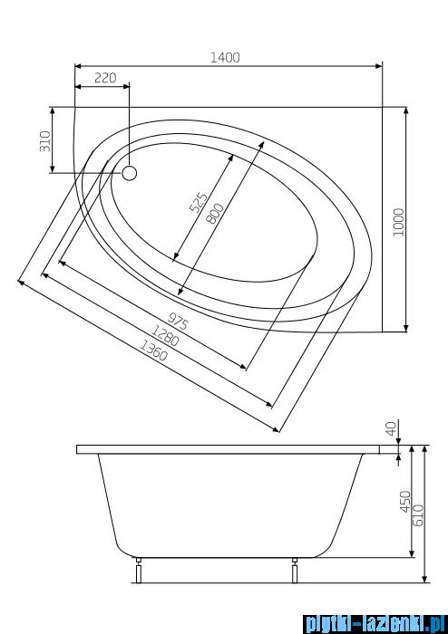 Roca Orbita wanna 140x100cm prawa z hydromasażem Effects Gold A24T198000