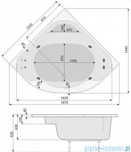 Poolspa Wanna symetryczna KLIO SYM 133x133 + hydromasaż system SD3 PHS3510SD3C0000