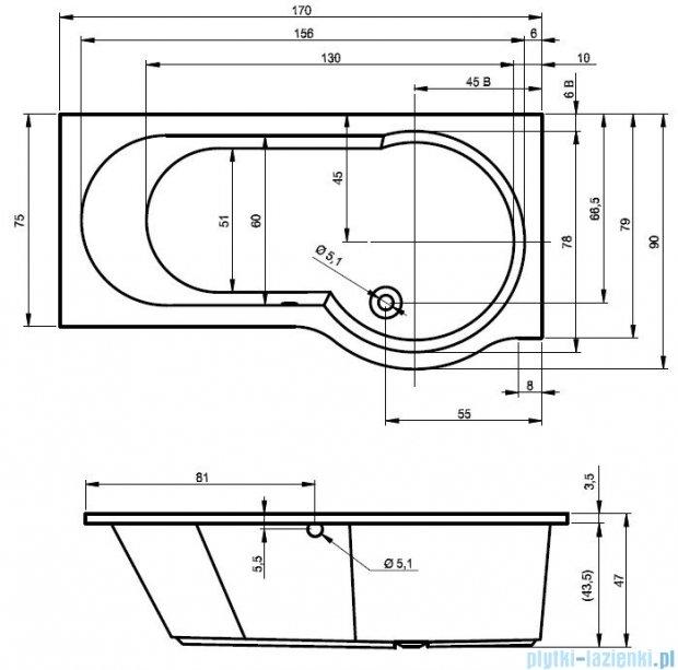 Riho Dorado wanna asymetryczna 170x75cm lewa z hydromasażem TOP Hydro 4+4+2 BA81T2