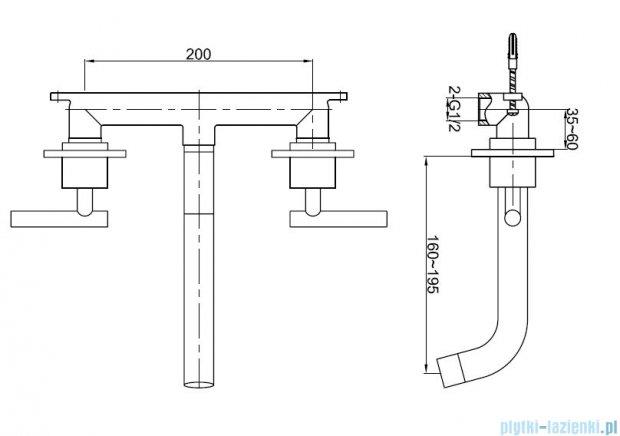Kohlman Roxin 3-otworowa podtynkowa bateria wannowa QW190R