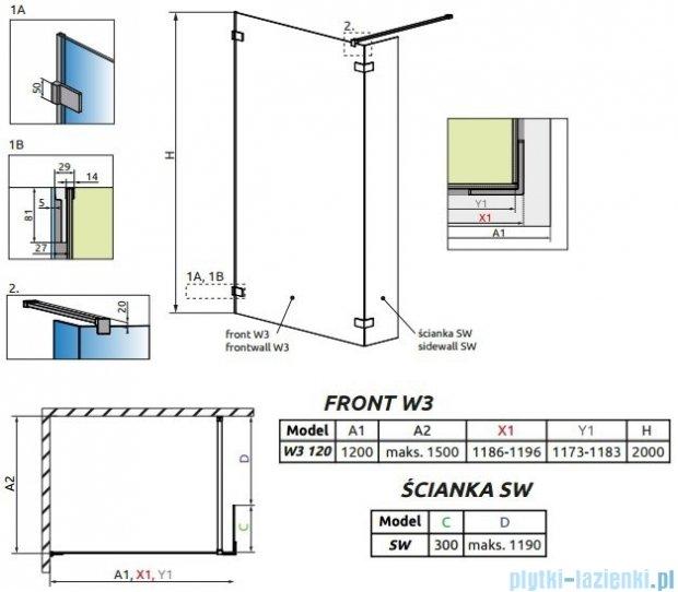 Radaway Euphoria Walk-in II kabina 120cm szkło przejrzyste 383134-01-01/383160-01-01