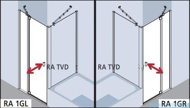 Kermi Raya Drzwi wahadłowe, 1-skrzydłowe, z polem stałym, prawe, szkło przezroczyste, profile srebrne 75x200 RA1GR07520VAK