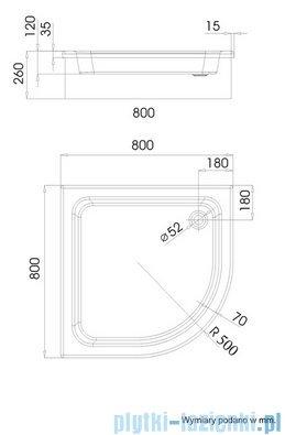 Schedpol Grawello Brodzik półokrągły R50 80x80x26cm 3.016