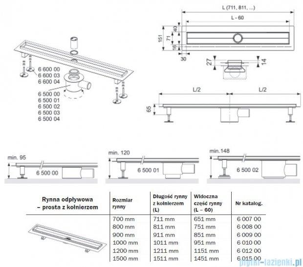 Tece Rynna odpływowa Tecedrainline-prosta z kołnierzem 150 cm 6.015.00