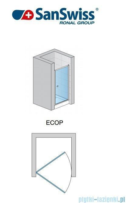 SanSwiss Eco-Line Drzwi 1-częściowe Ecop 80cm profil połysk szkło przejrzyste ECOP08005007