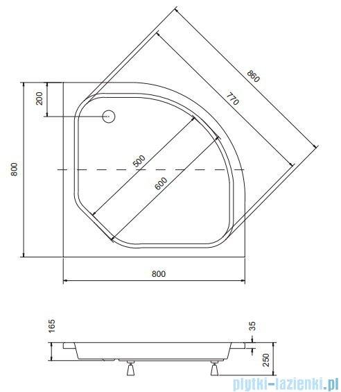 Sea Horse Sigma zestaw kabina natryskowa półokrągła - niska, 80x80 bluszcz + brodzik BKZ1/3/KA3