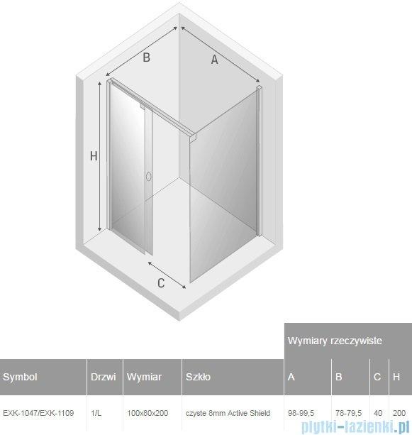 New Trendy kabina prostokątna Porta 100x80x200cm lewa przejrzyste EXK-1047/EXK-1109