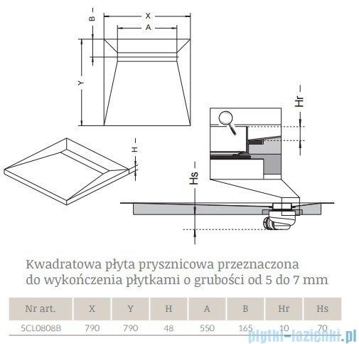 Radaway kwadratowy brodzik podpłytkowy z odpływem liniowym Rain 79x79cm 5CL0808B,5R055R,5SL1