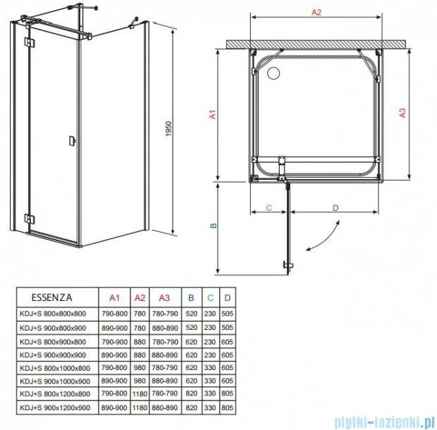 Radaway Kabina prysznicowa Essenza KDJ+S 90x80x90 lewa szkło przejrzyste 32955-01-01L