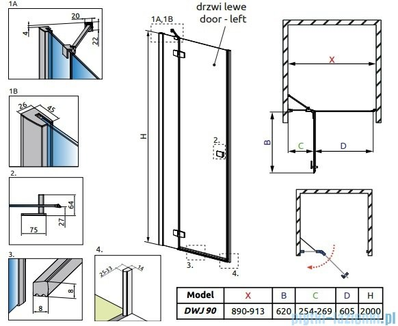 Radaway Fuenta New Dwj drzwi wnękowe 90cm lewe szkło przejrzyste 384013-01-01L