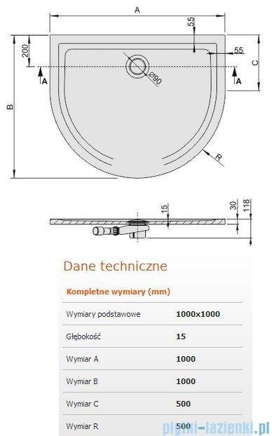 Sanplast Space Line brodzik przyścienny BPP-M/SPACE 100x100x1,5cm+syfon 645-290-0460-01-000