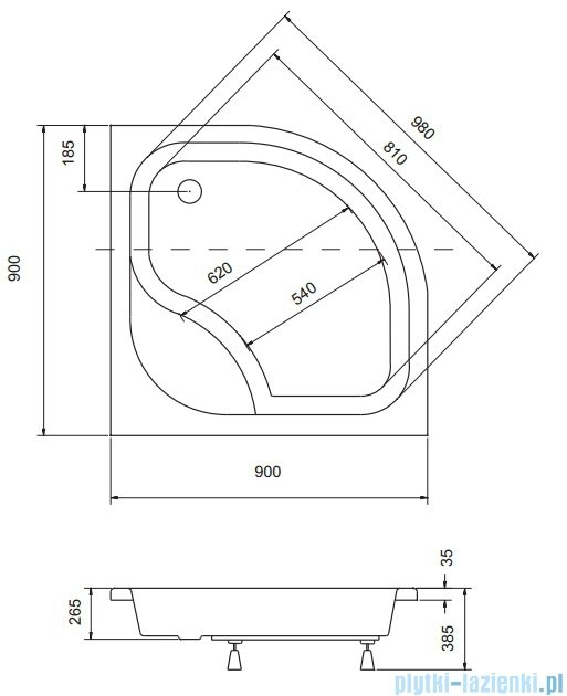 Sea Horse Sigma kabina natryskowa półokrągła niska 90x90cm brązowe A2+brodzik BKZ2/3/KB/A2/