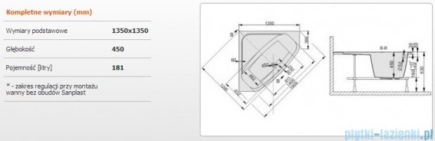 Sanplast Free Line Wanna symetryczna+stelaż WS/FREE 135x135+ST28, 610-040-0320-01-000
