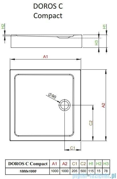Radaway Doros C Compact brodzik kwadratowy 100x100x11,5cm SDRC1010-05