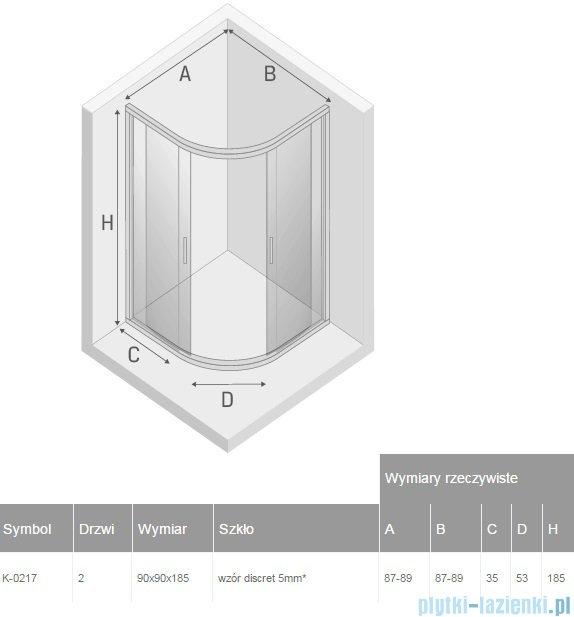 New Trendy Varia kabina półokrągła 90x90x185cm szkło discret K-0217