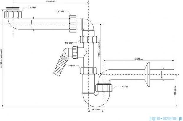 McAlpine Syfon umywalkowy rurowy biały HC4PF-32SPSW