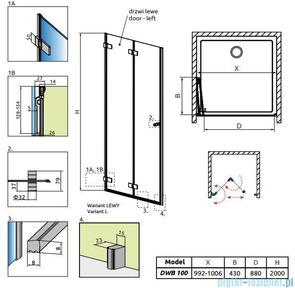 Radaway Arta Dwb drzwi wnękowe 100cm lewe szkło przejrzyste 386152-03-01L