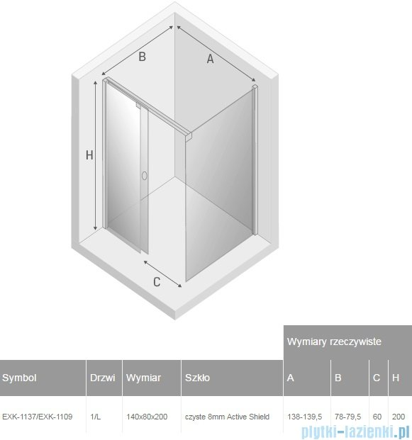 New Trendy kabina Porta 140x80x200cm lewa przejrzyste EXK-1137/EXK-1109