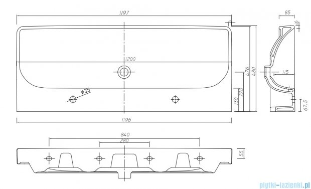 Koło Traffic umywalka meblowa 120cm z dwoma otworami i przelewem L91520