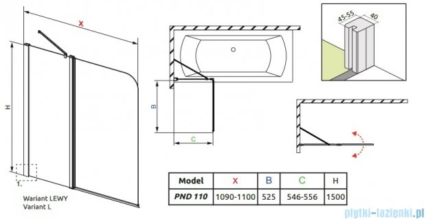 Radaway Eos II PND Parawan nawannowy 110 lewy szkło przejrzyste 206211-01L