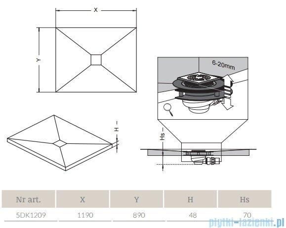 Radaway prostokątny brodzik podpłytkowy z kratką odpływową 119x89cm 5DK1209,5K01,5SK1