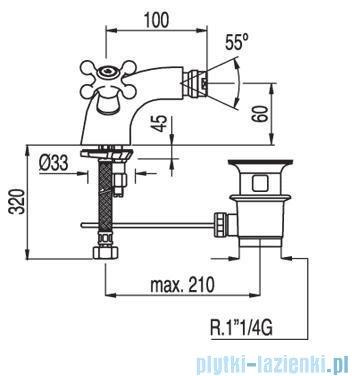 Tres Clasic-Tres Bateria bidetowa Ceramiczna z korkiem automatycznym 1.37.120