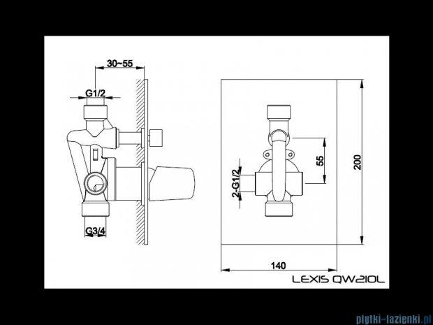 Kohlman Lexis podtynkowa bateria prysznicowa QW120L