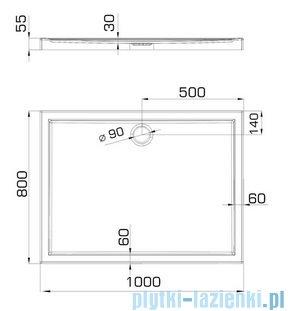 Omnires Manhattan kabina prostokątna 3M™ Easy Clean 80x100x195cm szkło przejrzyste + brodzik ADC81XLUX-T/3.066