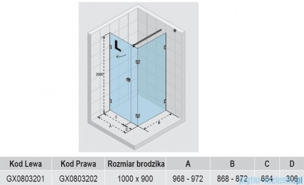 Riho Kabina prysznicowa Scandic Lift M204 100x90x200 cm PRAWA GX0803202