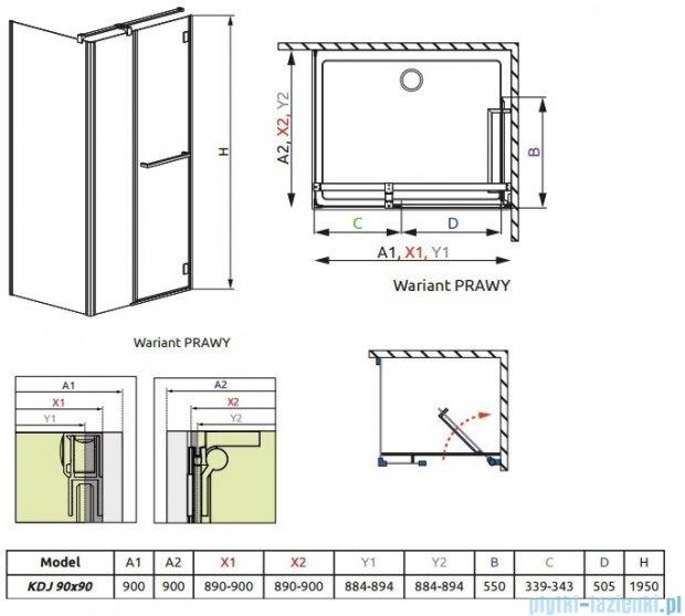 Radaway Carena Kdj Kabina kwadratowa 90x90 prawa szkło przejrzyste + Brodzik DELOS C 90 + syfon 34402-01-01NR