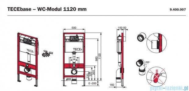 Tece Stelaż podtynkowy Tecebase do WC ze spłuczką podtynkową uruchamianą z przodu wys. 1120mm 9.400.007