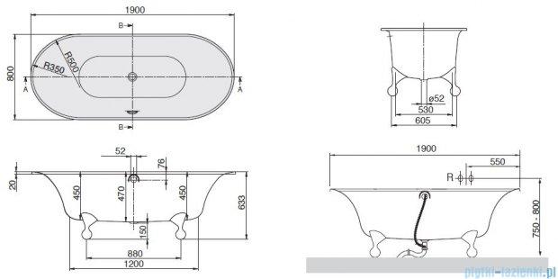 Villeroy&Boch Ceta Wanna Owalna 190x80  nóżki: aluminium    UBQ190CEA7U0V-01