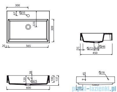Marmorin Teo 600 umywalka wisząca 60x31 z otworem przelewowym i z otworem na baterie biała 641060020011