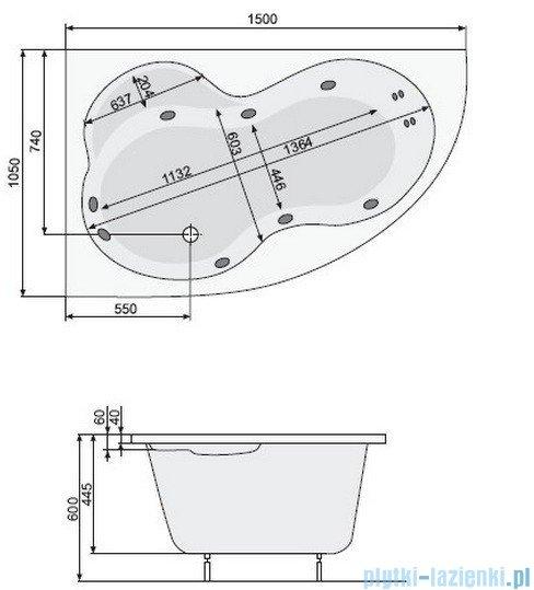 Poolspa Wanna asymetryczna MISTRAL 160x105 prawa + hydromasaż Smart 1 PHA6F10ST1C0000