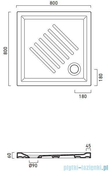 Catalano Verso 80x80 brodzik ceramiczny 80x80x6 cm biały 18080H600