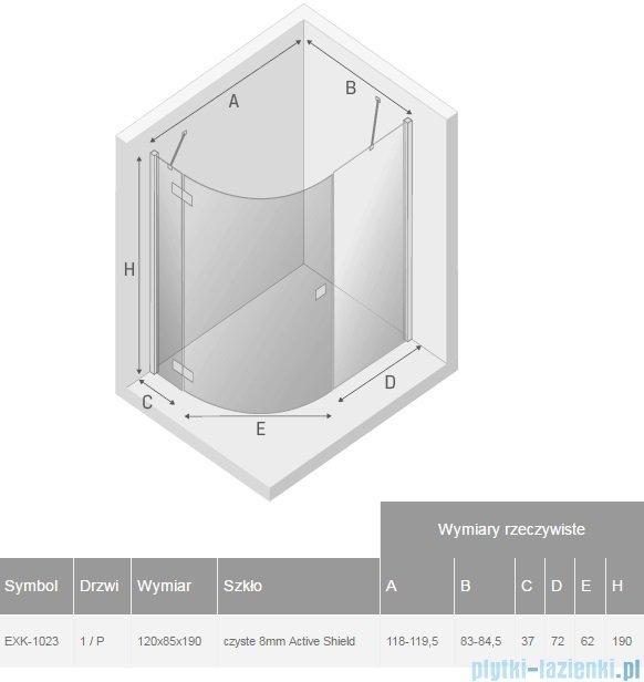 New Trendy Eleganta kabina 120x85cm prysznicowa asymetryczna prawa przejrzysta EXK-1023