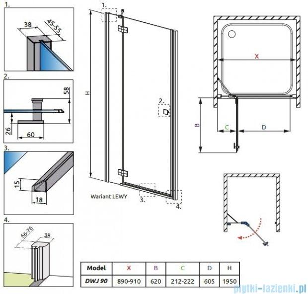 Radaway Almatea DWJ Gold drzwi wnękowe 90 lewe szkło przejrzyste 31002-09-01N