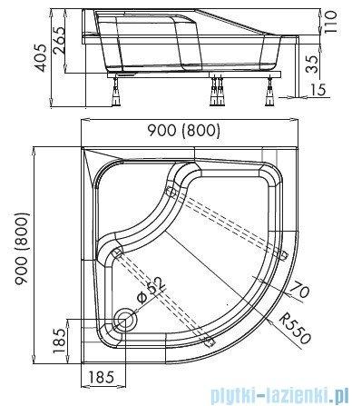 Schedpol Bona brodzik akrylowy półokrągły 80x80cm R55 3.238