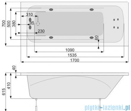 Poolspa Wanna prostokątna KLIO 170x70 + hydromasaż system SD1 PHPA410SD1C0000