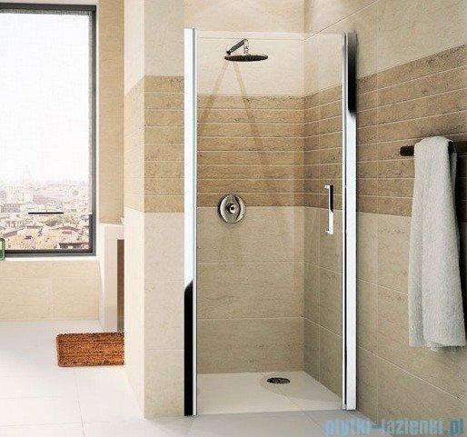 Novellini Drzwi do wnęki uchylne GIADA 1B 75 cm lewe szkło przejrzyste profil srebrny GIADN1B75S-1B