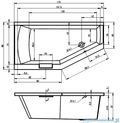 Riho Geta wanna asymetryczna 170x90cm prawa z hydromasażem LUX Hydro 4+4+2/Aero11 BA88L8