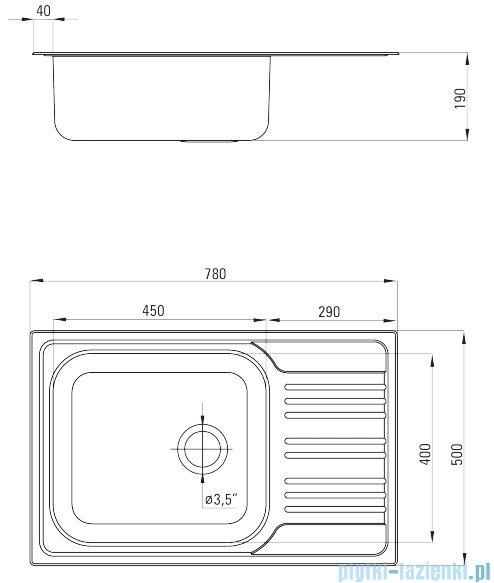 Deante  Xylo zlewozmywak 1-komorowy z ociekaczem satyna 78x50 cm ZEX 011B