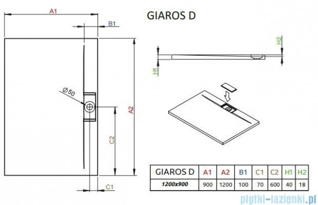 Radaway Giaros D Brodzik prostokątny 120x90x4cm MKGD1290-03