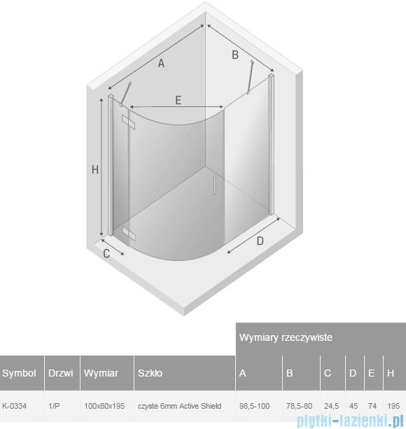 New Trendy New Merana kabina asymetryczna 100x80x195cm prawa przejrzyste K-0334