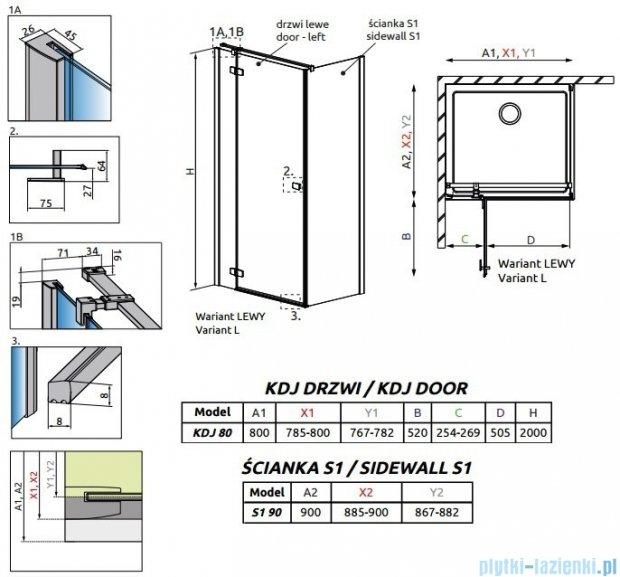 Radaway Fuenta New Kdj kabina 80x90cm lewa szkło przejrzyste 384043-01-01L/384050-01-01